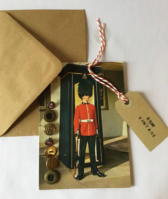 Vintage Buttons on vintage postcard greeting card