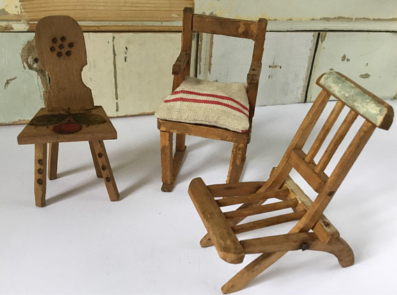 Vintage Dolls House Chairs