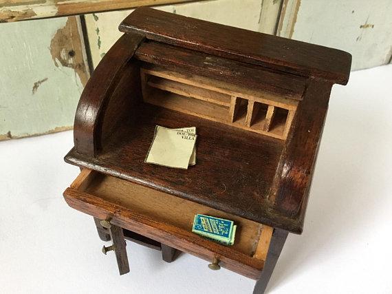 Vintage Dolls House  Roll Top Desk