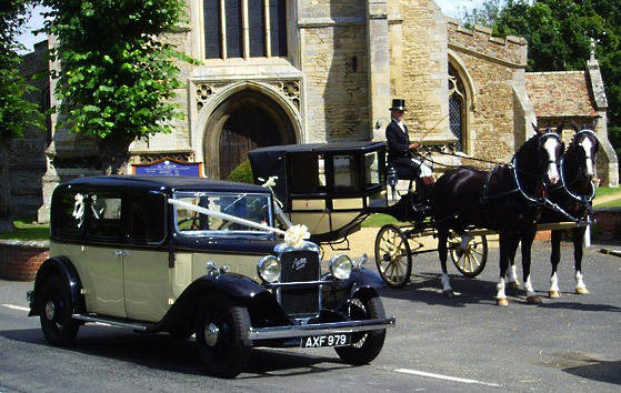 Wedding-Church-Horses-Car