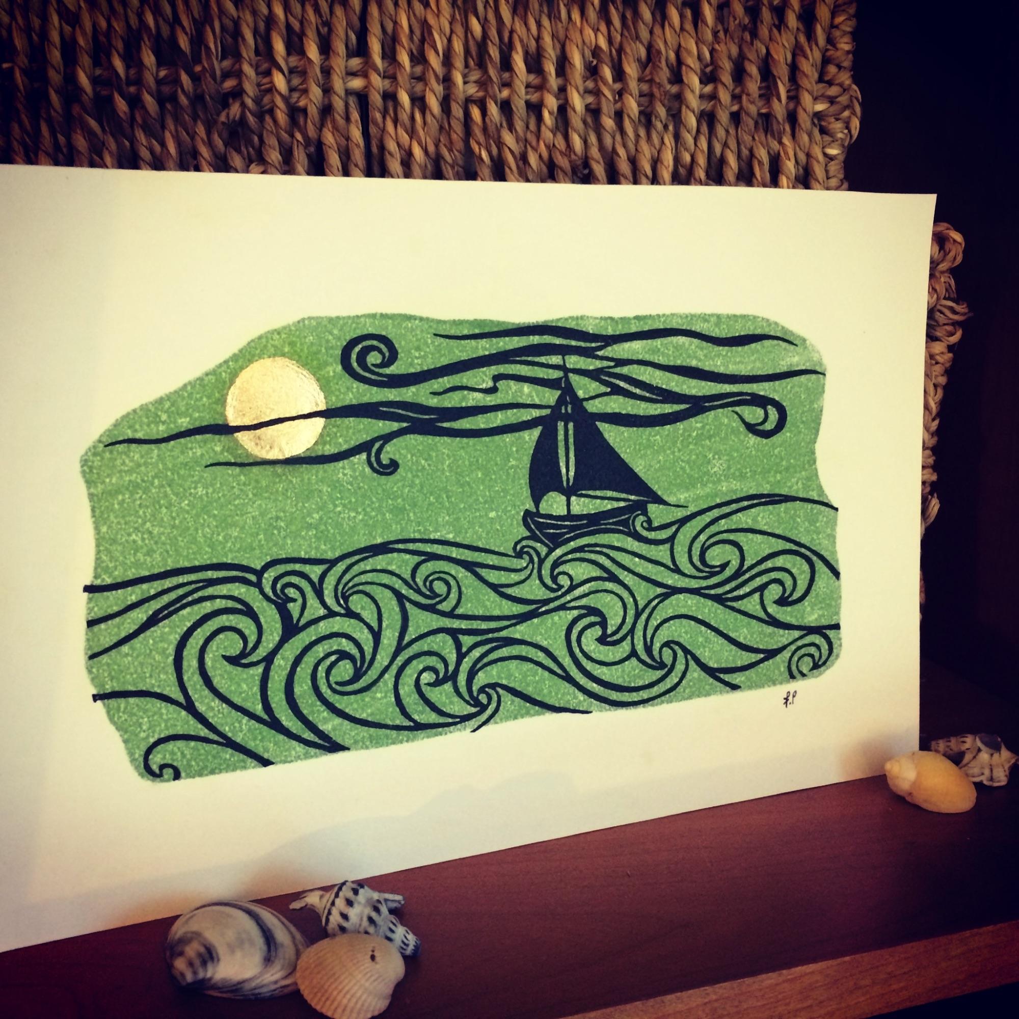 Linocut print by Frances Payne