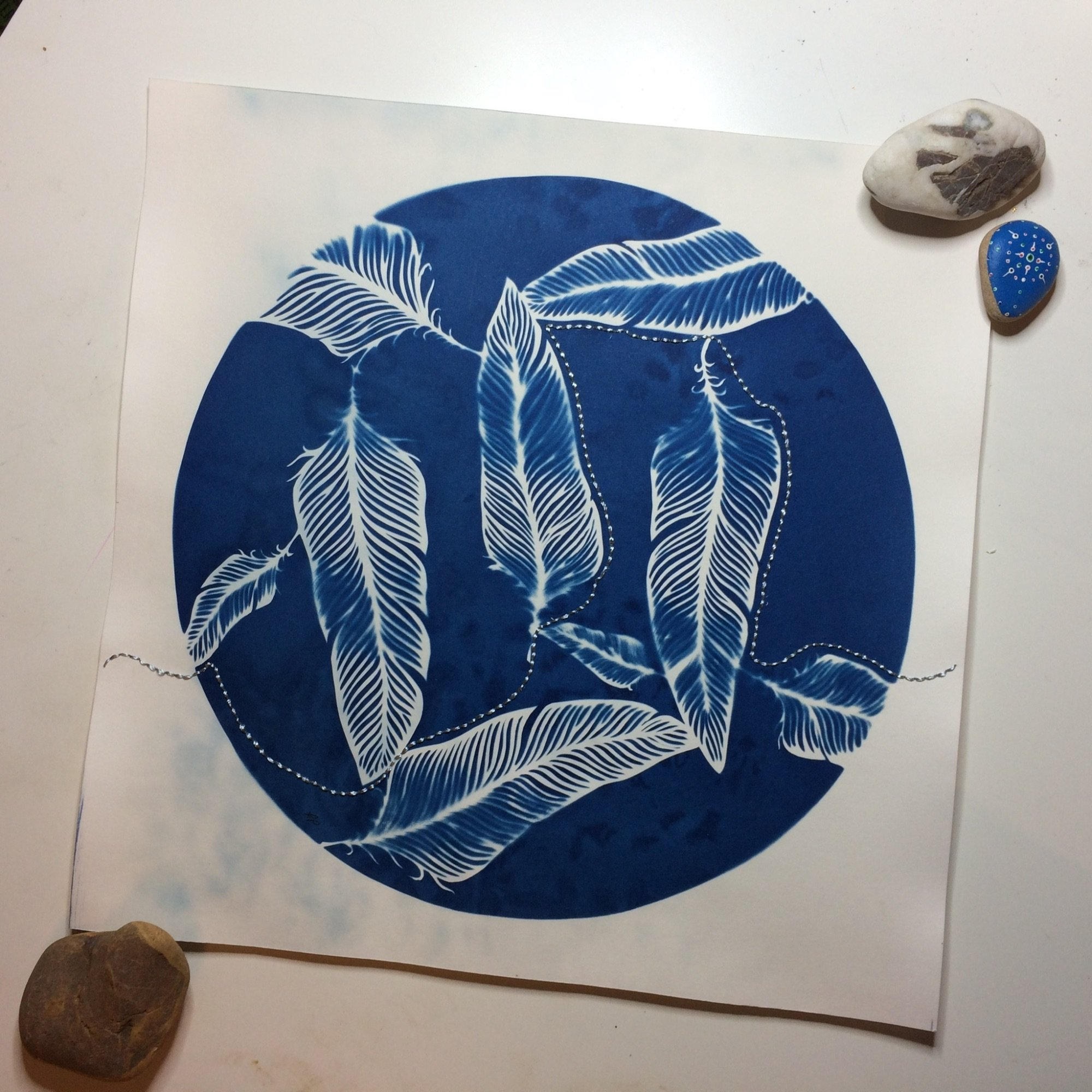 Stitched Cyanotype Print by Frances Payne