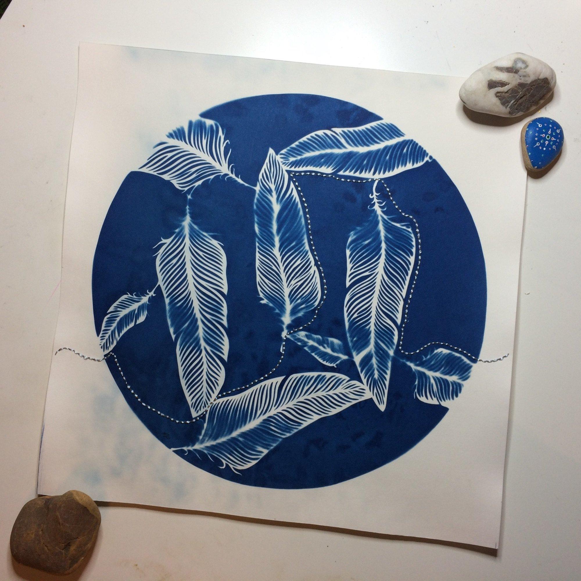 Stitched Cyanotype Print by Frances Payne