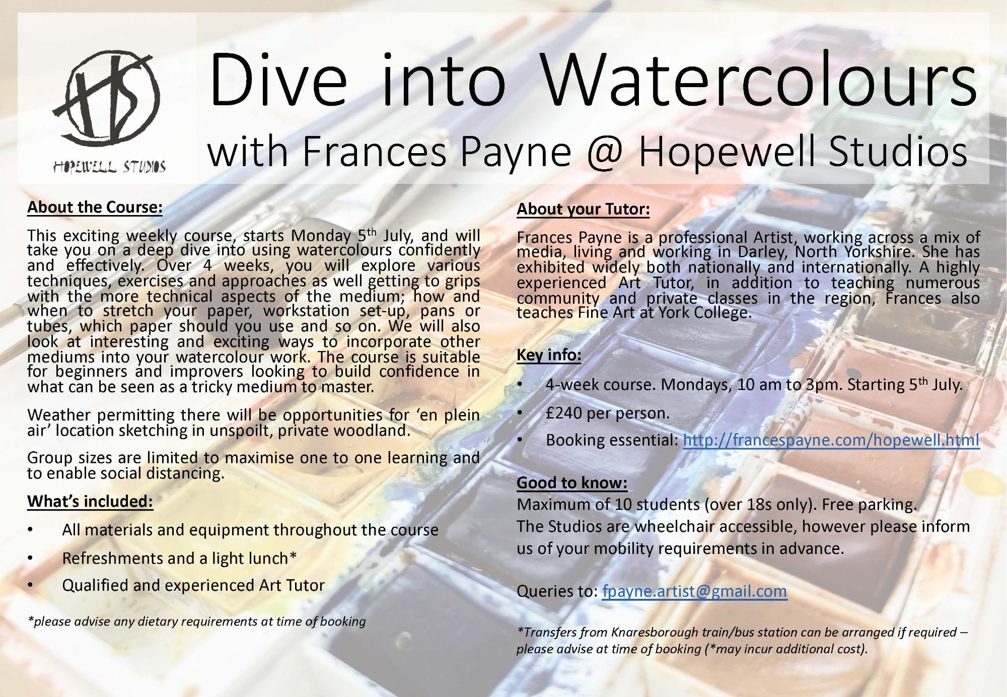 Art Classes at Hopewell Studios with Frances Payne Artist
