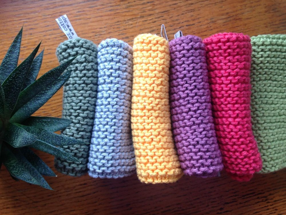 100% supersoft cotton yarn, handknitted face cloths