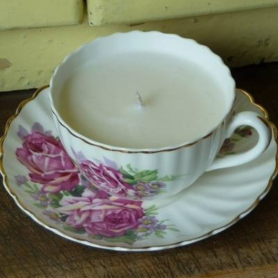 vintage tea cup soy wax scented candles