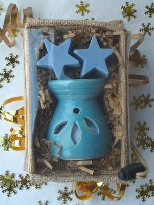 soy wax aroma melts and oil burner gift basket - frankincense & myrrh