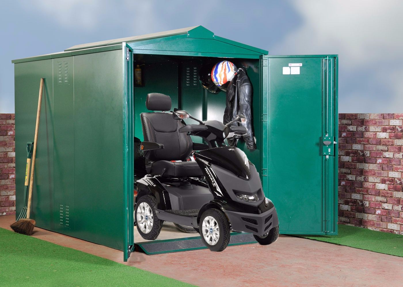 Mobility Scooter Store Metal storage X Large (green) also available in brow