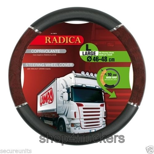 Lampa Lorry Truck HGV steering wheel cover large 46 / 48cm walnut inserts