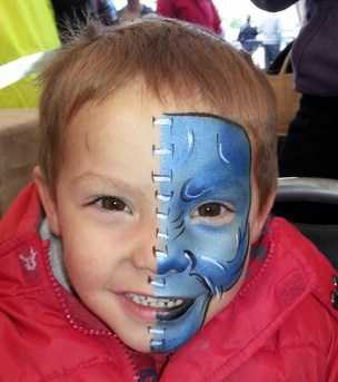 half blue boy