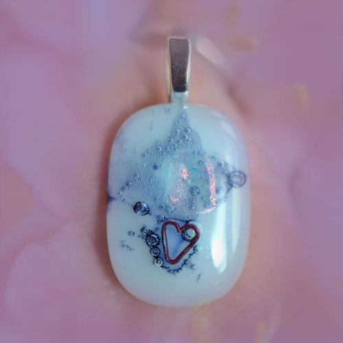 jewelart abstract fused glass pendant