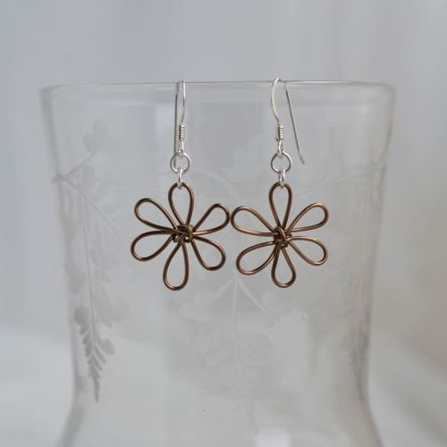 flowers earrings bronze