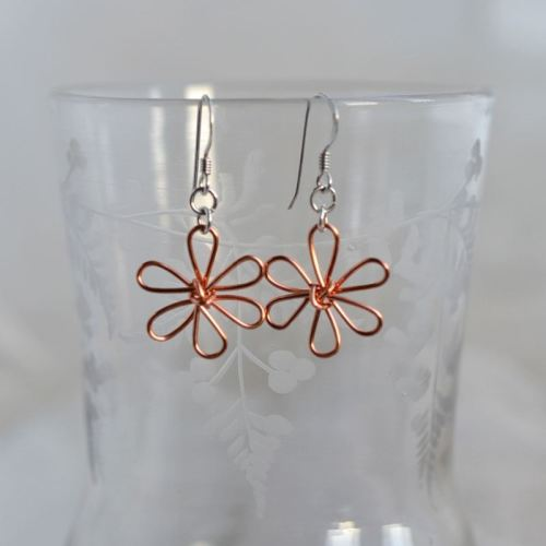 jewelart flower earrings copper