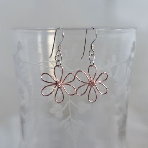 jewelart flower earrings blush pink