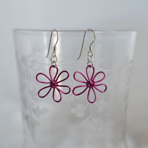 jewelart flower earrings fuscia pink