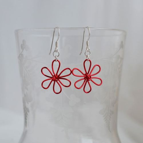 jewelart flower earrings red
