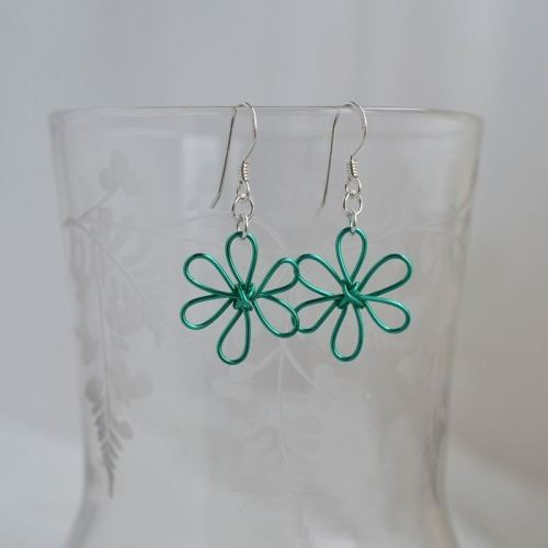 jewelart flower earrings teal