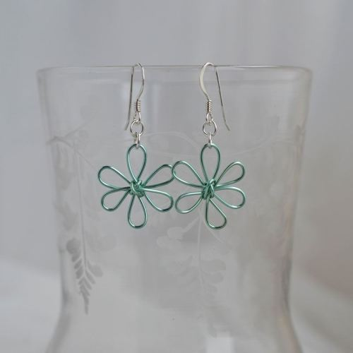jewelart flower earrings aqua