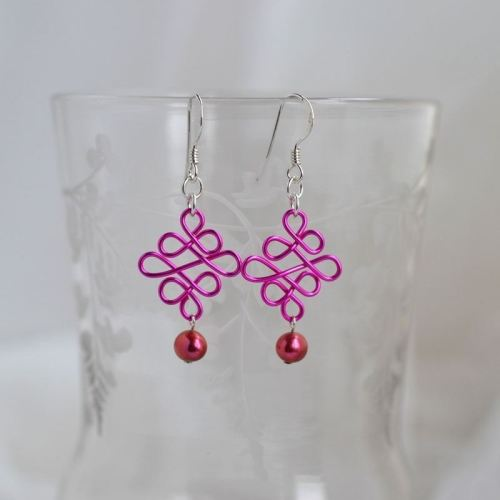 jewelart celtic earrings fuscia pink