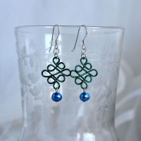 jewelart celtic earrings teal blue
