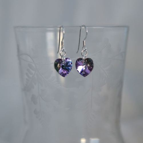 jewelart heart earrings lilac