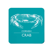 Cornish Crab Coaster - Turquoise & White Melamine - Cornwall Vibes