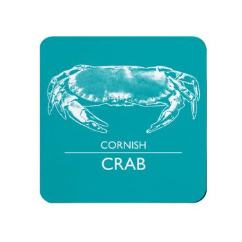Cornish Crab Coaster - Turquoise & White Melamine - Cornwall Vibes