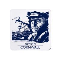 Blue and White Melamine Coaster - Newlyn Fisherman, Cornwall
