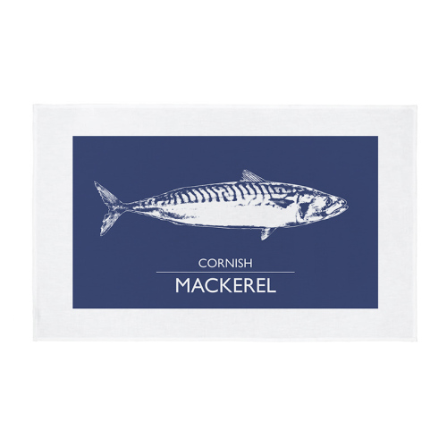 Cornwall Tea Towel - Cornish Mackerel - Navy Blue
