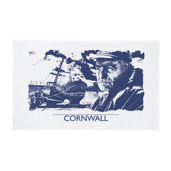 Cornwall Tea Towel - Cornish Fisherman - Navy Blue & White