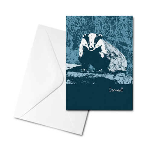 Blank Greetings Card - Cornwall - Badger