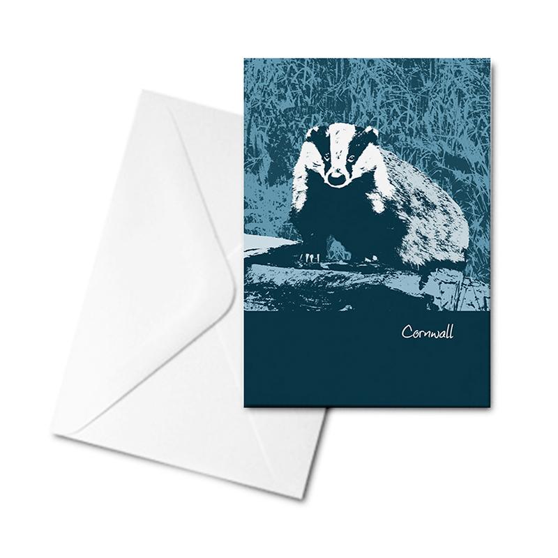 Blank Greetings Card - Cornwall - Badger