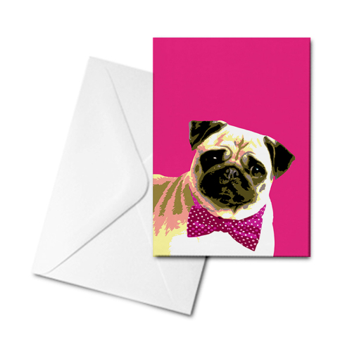 Blank Greetings Card - Pug Love