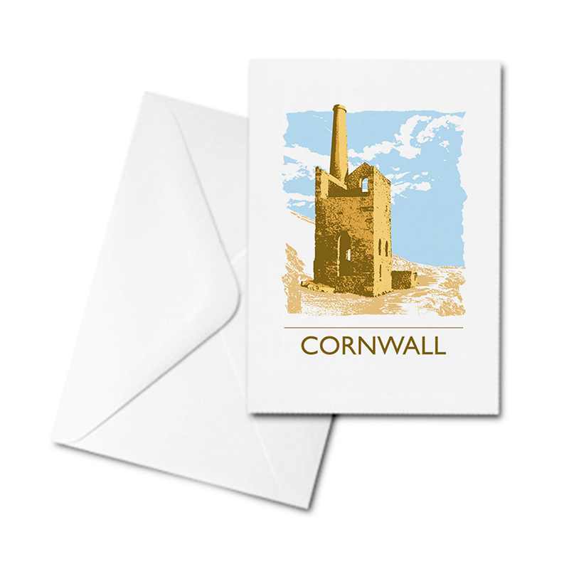 Blank Greetings Card - Cornwall - Tin Mine
