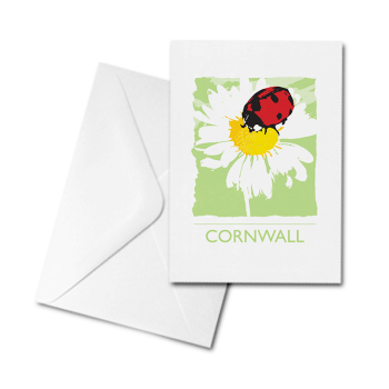 Blank Greetings Card - Cornwall - Ladybird