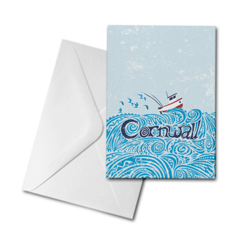 Blank Greetings Card - Cornwall - Boat