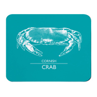 Cornish Crab Placemat - Turquoise & White Melamine - Cornwall Style