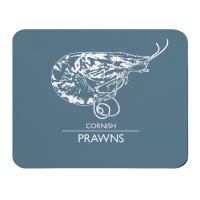 Cornish Prawns Placemat - Grey & White Melamine - Cornwall Style