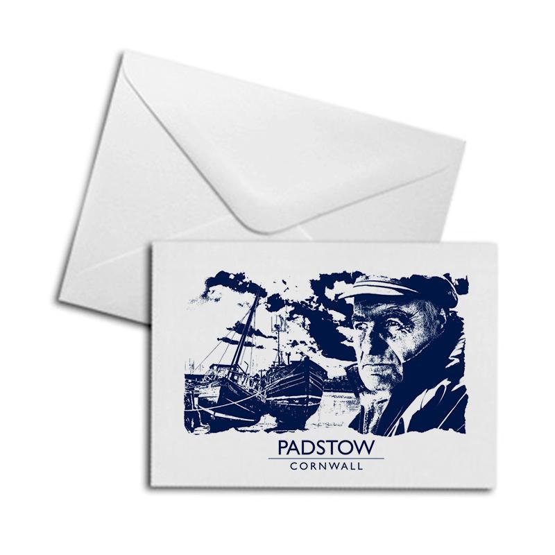 Blank Greetings Card - Cornish Fisherman, Padstow