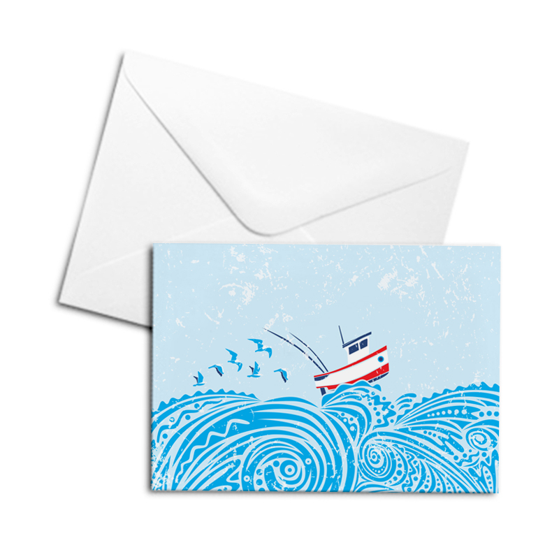 Blank Greetings Card - Boat