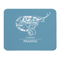 Cornish Prawns Placemat - Blue & White Melamine - Cornwall Style