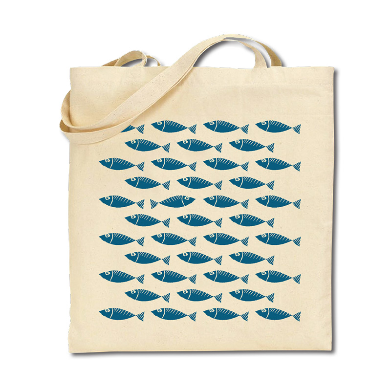 Cotton Tote Bag - Shoal of Fish - Grey/Blue