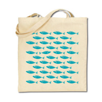 Cotton Tote Bag - Shoal of Fish - Turquoise