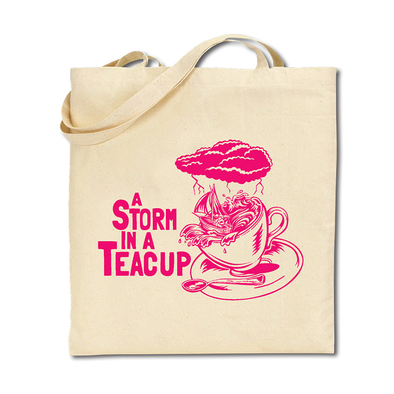 Cotton Tote Bag - Storm in a Teacup - Pink