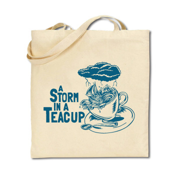 Cotton Tote Bag - Storm in a Teacup - Blue