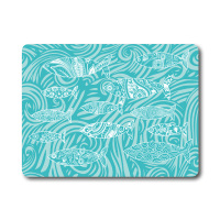 Turquoise Shoal of Fish Glass Surface Protector - Worktop Saver