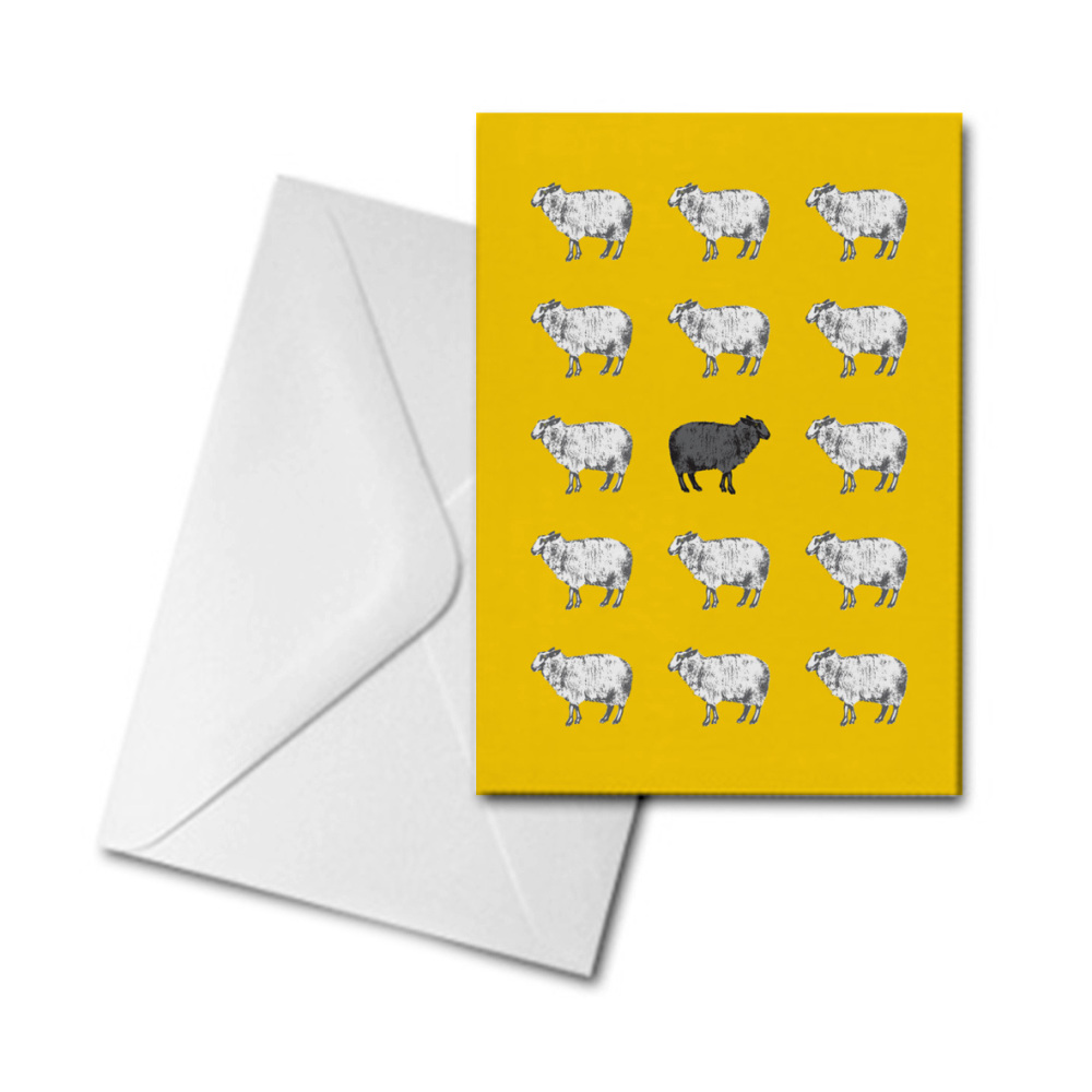 Blank Greetings Card - Black Sheep