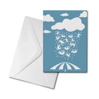 Blank Greetings Card - Raining Cats & Dogs