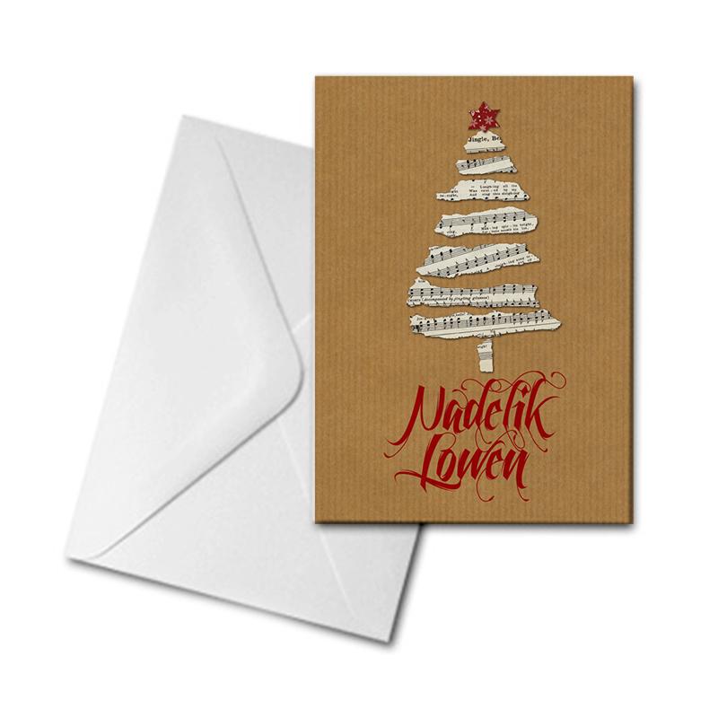 Christmas Card - Paper Tree - Nadelik Lowen