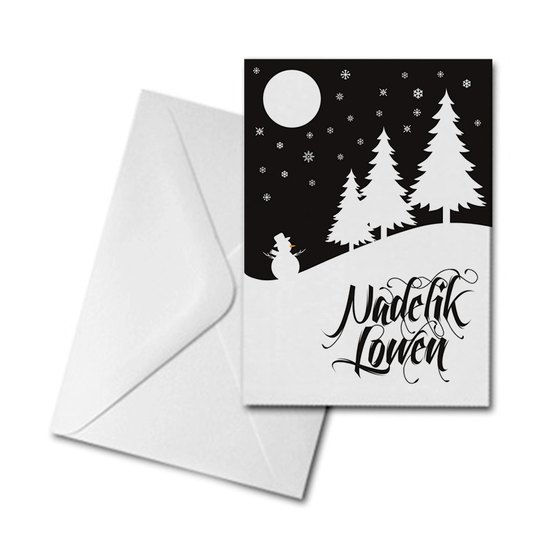 Christmas Card - Trees & Snowman - Nadelik Lowen